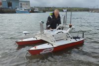 Inception Class USV being deployed in Hayle Harbour